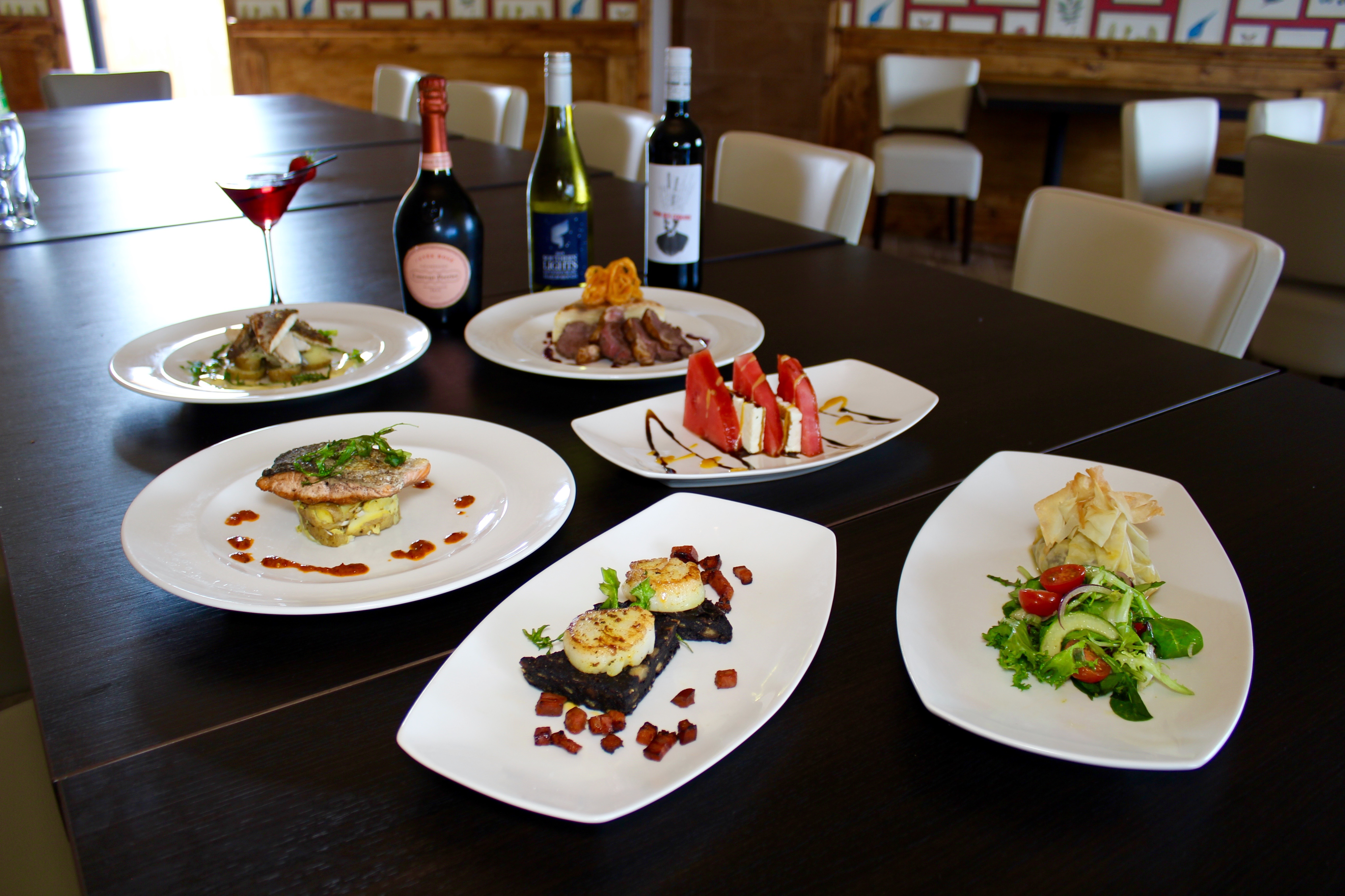 A selection of food and fine wine in our function room.